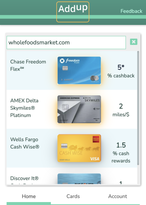 You can view reward rates for your credit cards at retailers without visiting their websites